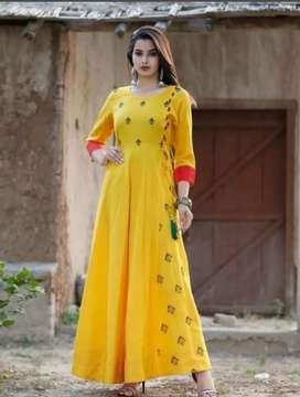 Women's floral embroidered long kurti..