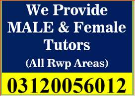 Get Male/Female Tutors at your home (All Rwp Areas & Bahria/DHA.Askari