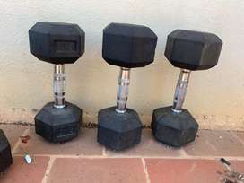 New dumbbells sparingly used