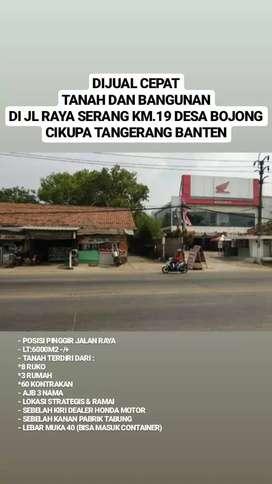 Dijual Tanah plus Bangunan Strategis pinggir jalan Cikupq Tangerang