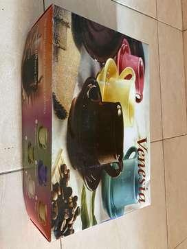 Tea set ceramic 6 cangkir lengkap bahan tebal