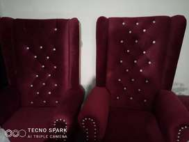High back 3 seater sofa plus 2 high back chair maroon color