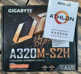 AMD athlon 3000g Gigabyte A320 motherboard 3year warranty only 10000
