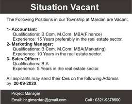 Accountant, Marketing Manager, Sales Officer