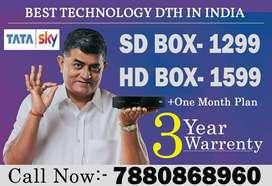 TATA SKY BRAND NEW BOX SD HD CONNECTION-AIRTEL DTH DISH D2H TATASKY