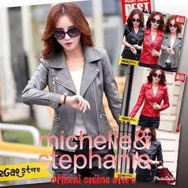 M&S FASHEGAO38 - PREMIUM Jaket Kulit wanita Elegant Black ARL 033