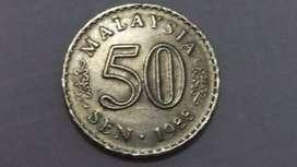 Jual koin kuno 50 sen ringgit Malaysia keluaran tahun 1988