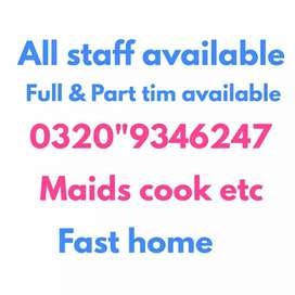 All Domestic & office staff available maid cook helper couple chef dri