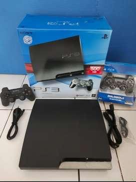 PlayStation 3 Slim 500GB isi 100 game bagus bagus+2 Stik