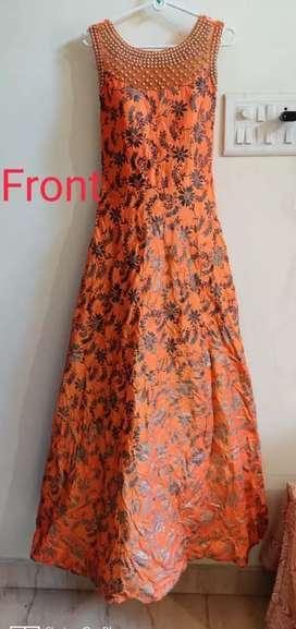 Gown for sale...heavy work beutiful look, golden orange color