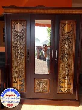 Lemari Jati Pintu 3 Sleding Murah(106x50x205) Krian