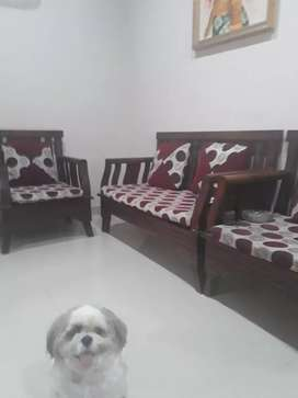 Dijual kursi +meja kayu warna merah bsgus