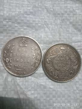 Silver one rupees coin british india