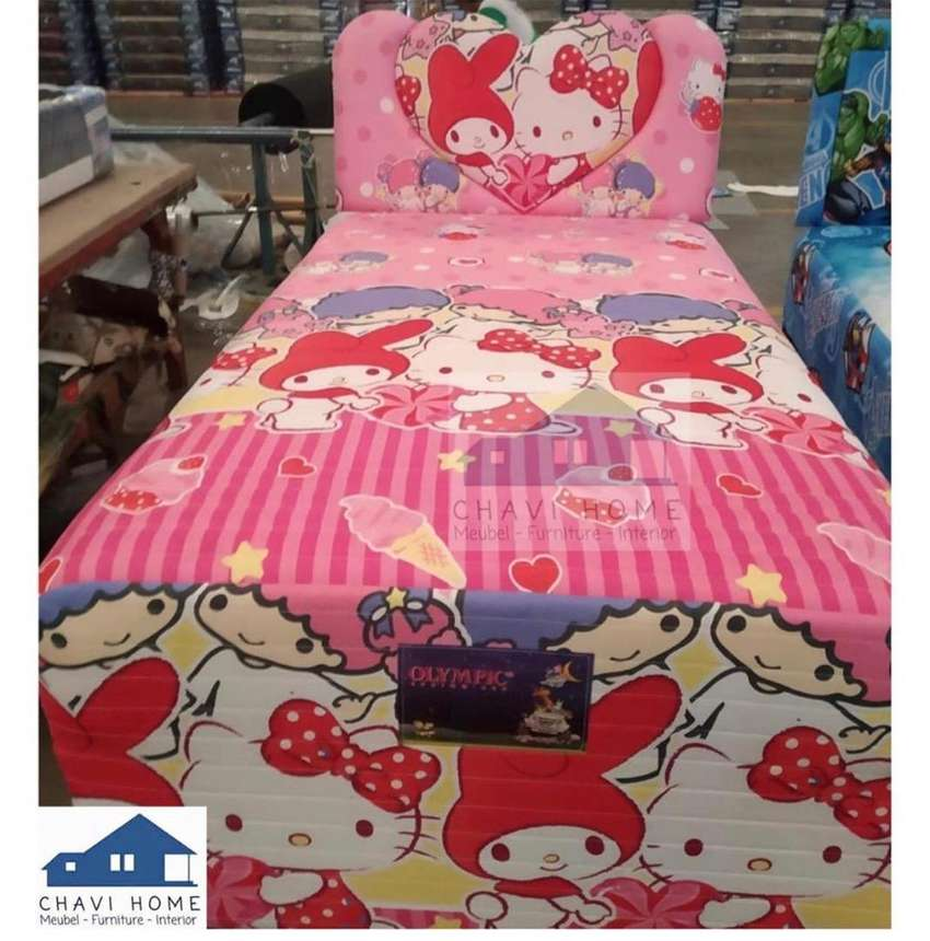 Set springbed 2in1 sorong spring bed olympic motif sanrio kitty murah 0