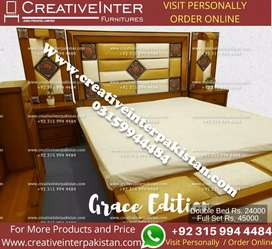 Double bed set brand new center table iron stand Wardrobe sofa cum bed