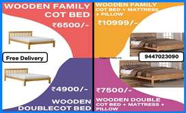 35 DOUBLE COT BED | FAMILY COT | QUEEN | KING WOODEN MATTRESS PILLOW
