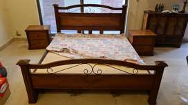 Solid sheeshum wood, double bed (6 feet by 7 feet) with 2 side tables