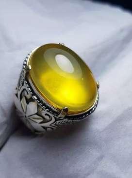 Natural Opal Garut Kuning ring Perak