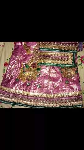 Purple color bridal wear