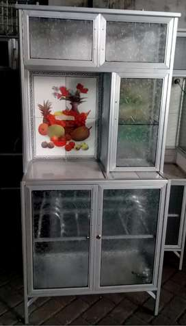 Rak Piring Almini Frame Putih + Keramik 2 Pintu Kaca Es / Motif 78-160