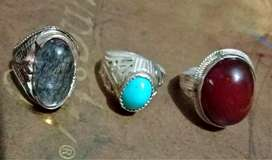 Feroza Aqeeq and Moh e Najaf stones with chandi silver ring