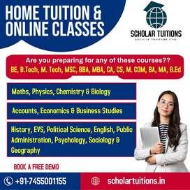 Avail/Req Tutors 1-12th All subj'ts Home Tuition/ Online Classes
