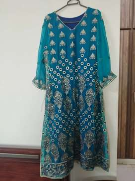 Royal blue and turquoise pure 2pc party wear