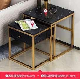 Meja samping model marbel 2 layer