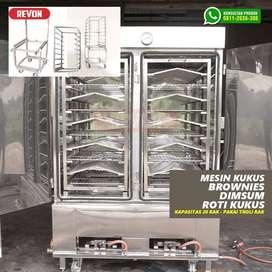 Mesin steamer makanan, alat kukus roti brownies dimsum nasi jambi