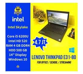 Laptop Kelas Bisnis - Thinkpad E31 Intel Core i5 6200U / 4GB / 500GB