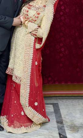 only one time used red and golden lehnga  with jewlry and clutch