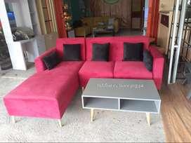Sofa L minimalis dg meja kotak