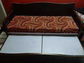 Teak wood Sofa cum Bed with Storage and cushion.