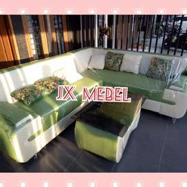 JX MEBEL Kursi Sofa Sudut L Besar + Meja Kaca