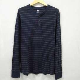 Henley Shirt Old Navy Long Sleeve Dark Blue Preloved Original