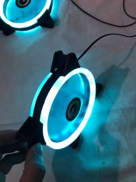 Led Fans 120mm Double ring , Quad ring , Red / frost blue