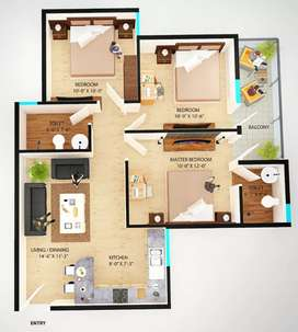 3bhk@ 23 lac only, near gd goinka school