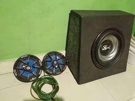 1 set audio mobil, speaker, subwoofer, tape singgle din.