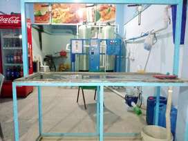 Shop for rent with water filtration plant and fast food machine
