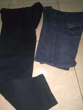 Celana panjang soft jeans hitam pensil n celana jeans pendek