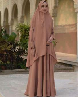 Gamis Set Hawwa by Ayuka Winda, original. Warna Baby Milo size L