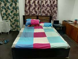 Queen size bed with mattress, Bed SideTable, Chair