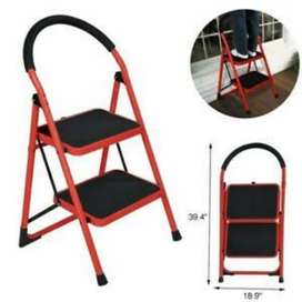 2 step folding ladder red