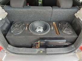 Amplifier, Woofer,speaker , with complete wiring