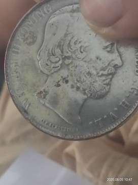 Coin belanda 1863 willem 3,  2-  2/1  golden