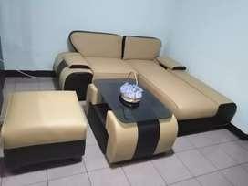 Sofa L sudut (pakai per, rangka kayu solid) + Meja kaca