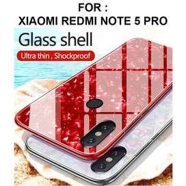 Tempered shell case Xiaomi Redmi Note 5 Pro AI casing cover tpu glass