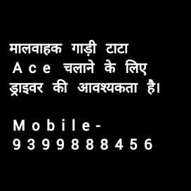 Tata Ace चलाने के लिए ड्राइवर की आवश्यकता है (लोकल डिलीवरी सर्विस)
