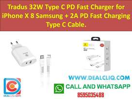 Tradus 32W Type C PD Fast Charger for iPhone X 8 Samsung + 2A PD Fast