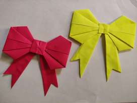Paper BOW,Yellow coloured paper bow!